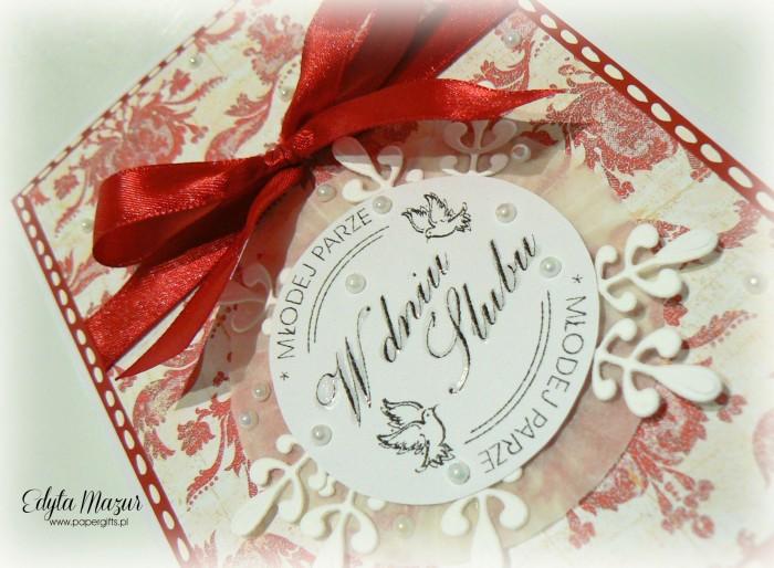 Biało-czerwony wzorek - kartka na ślub1