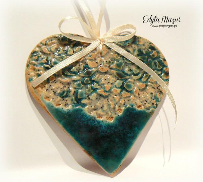 Morskie serce z dedykacją - ceramika