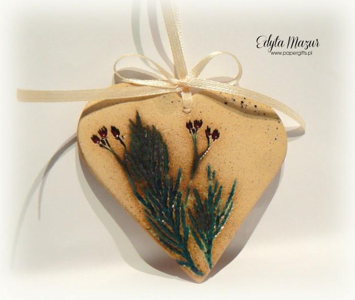 Polne kwiaty - serce z dedykacją ceramika