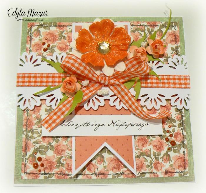 Pomarańczowe różyczki - kartka okolicznościowa