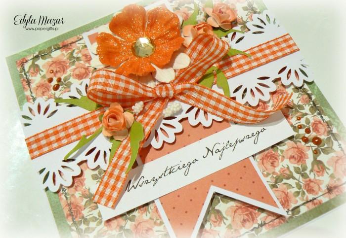 Pomarańczowe różyczki - kartka okolicznościowa1