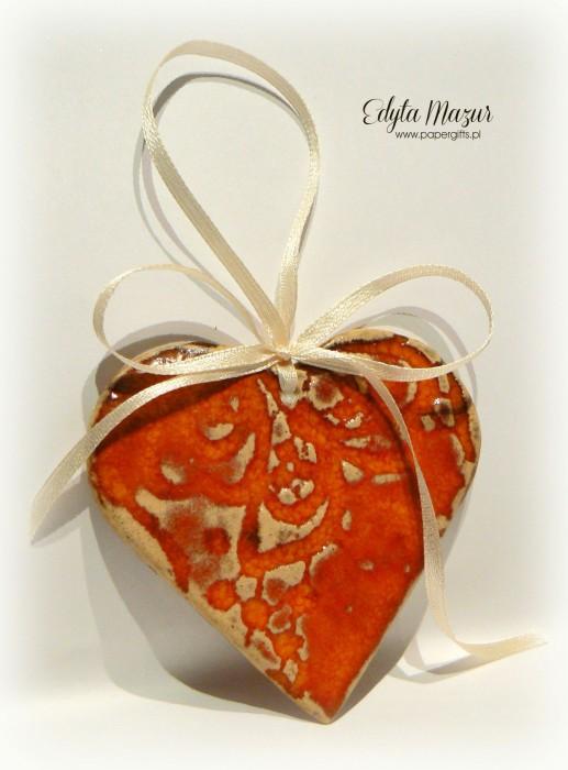 Pomarańczowe serce z dedykacją - ceramika3