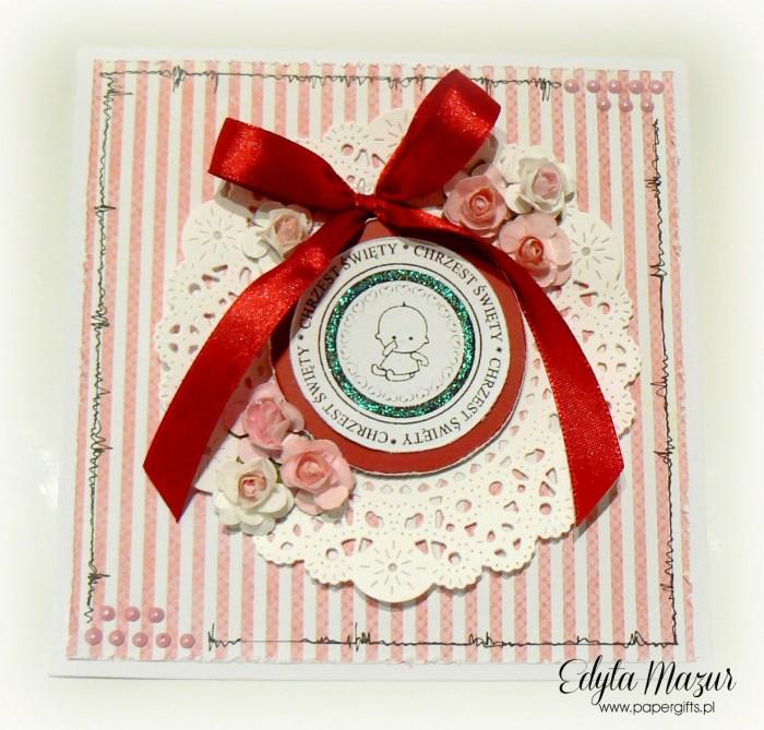 Różowo-czerwona kartka na chrzest