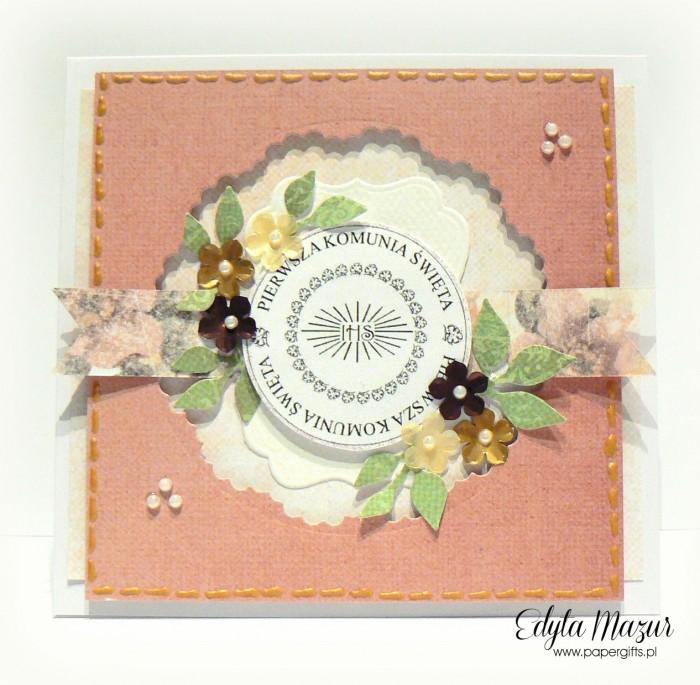 Łososiowa z kwiatkami - Pamiątka Komunii Św