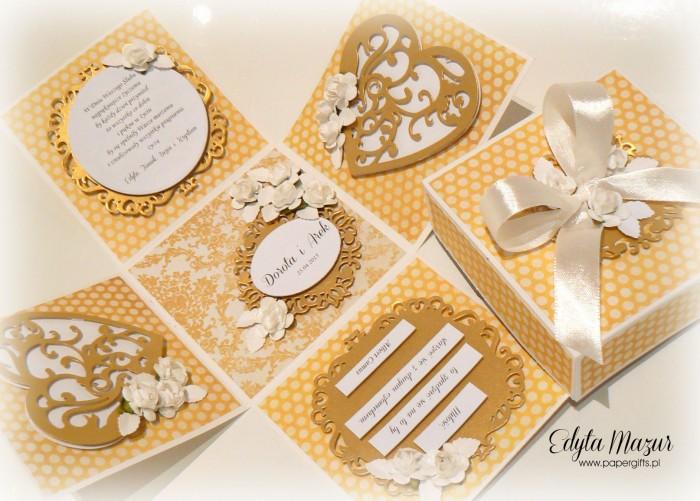 Żółto-złoty box ślubny dla Doroty i Arka1