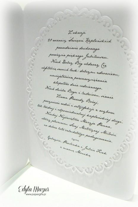Beżowo-brązowa kartka na 20 Rocznicę Święceń Kapłańskich1