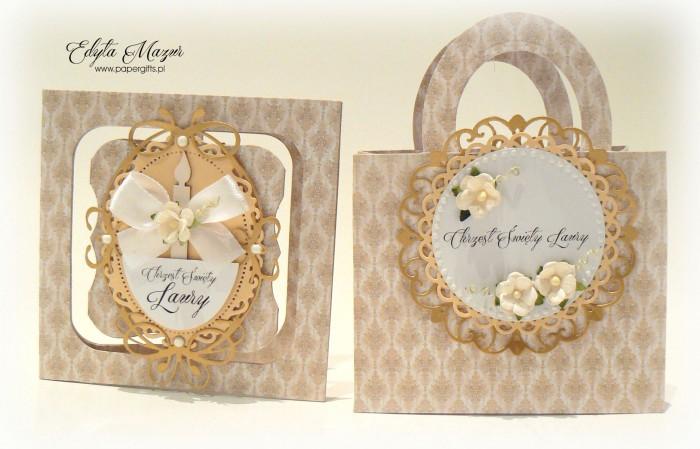 Beżowo-złota torebka i kartka - Pamiątka Chrztu Świętego Laury