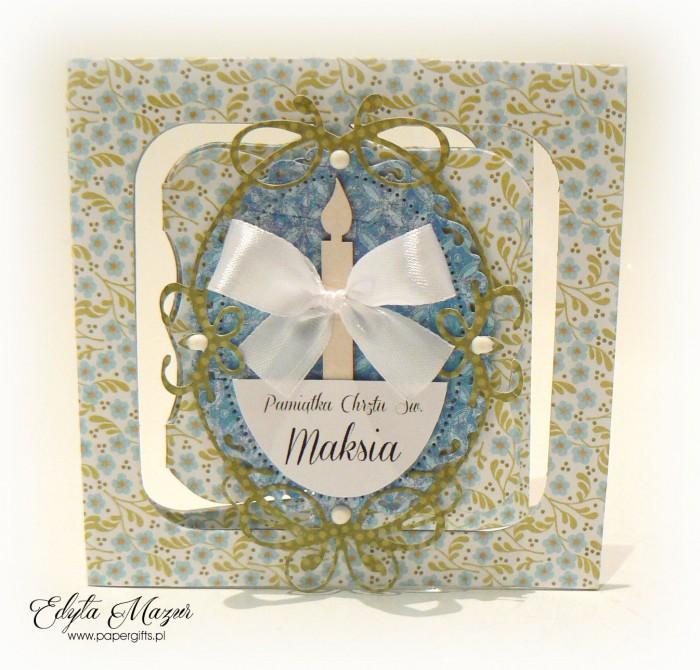 Biało-niebieska z kwiatuszkami - Pamiątka Chrztu Świętego Maksia