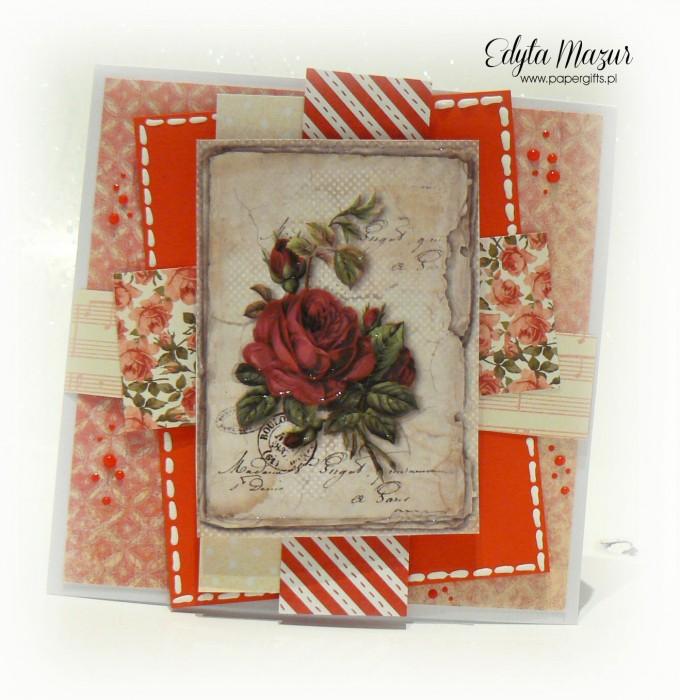 Czerwona z różą - kartka na Dzień Mamy