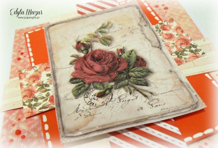 Czerwona z różą - kartka okoliczościowa1