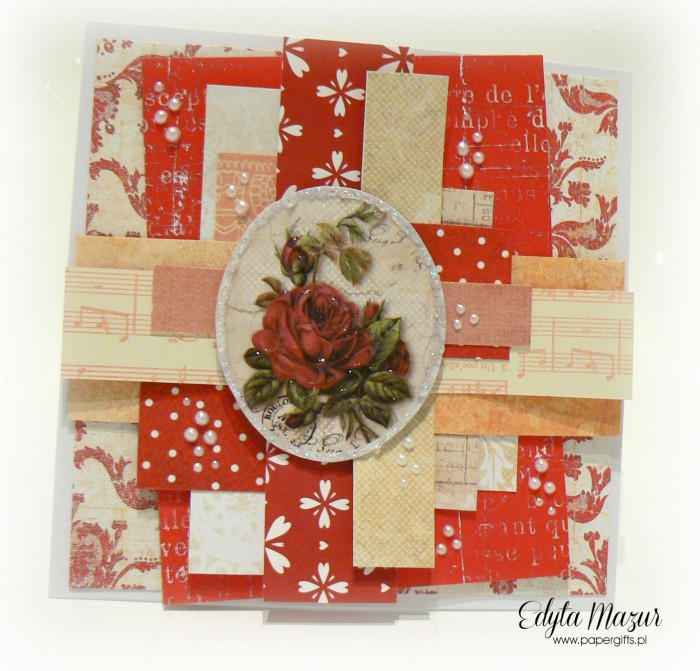 Czerwono-żółta z różą - kartka na Dzień Mamy