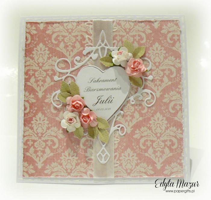Damaski, serce i róże - kartka na bierzmowanie Julii