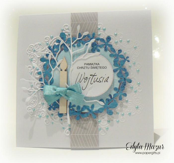 Niebieski wianek - Pamiątka Chrztu Św. Wojtusia
