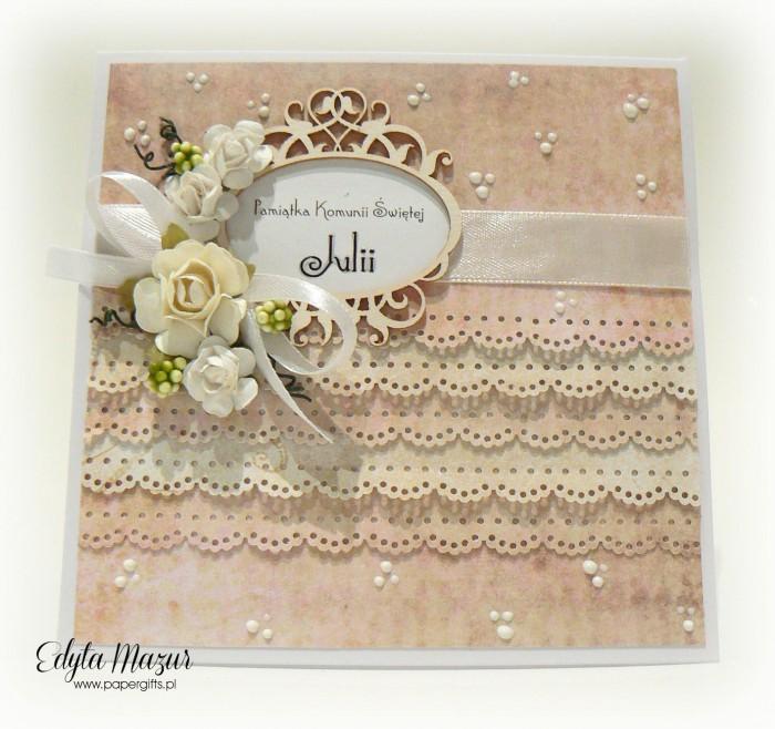 Pastelowe falbanki z ramką i różami - Pamiątka Komunii Św. Julii