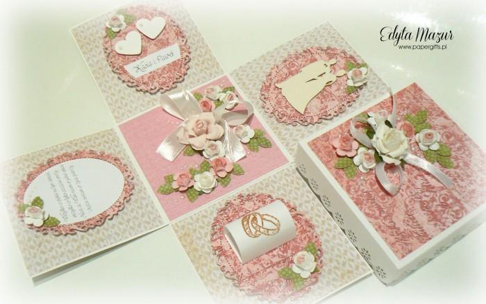 Różano-beżowy box ślubny dla Kasi i Pawła