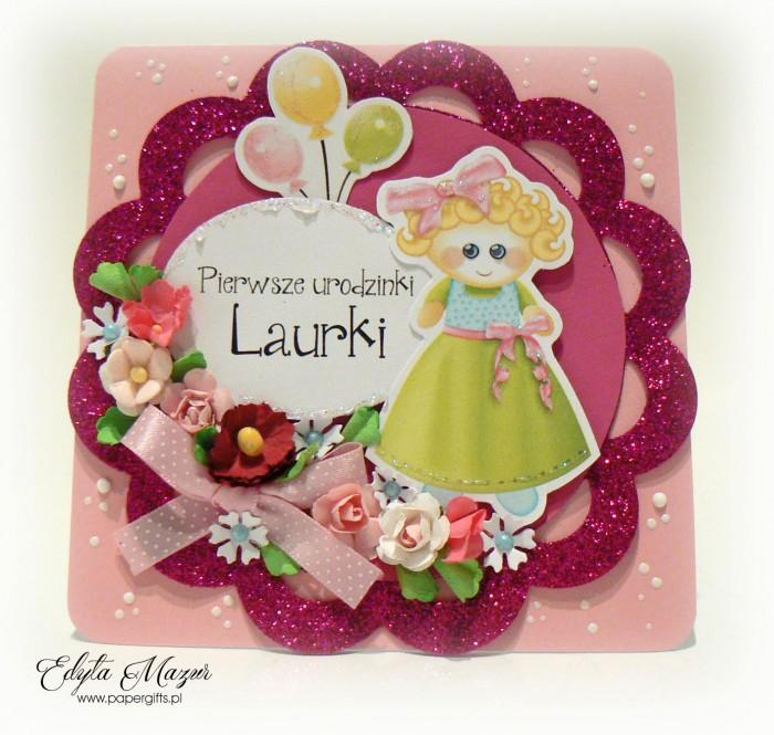 Różowa i błyszcząca kartka na roczek Laury