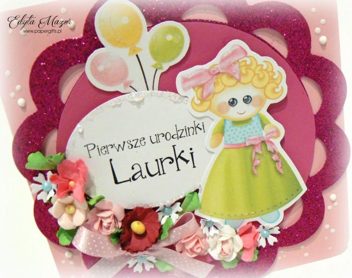 Różowa i błyszcząca kartka na roczek Laury1