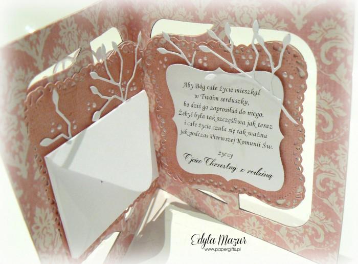 Różowa z koronką - Pamiątka Komunii Zosi1