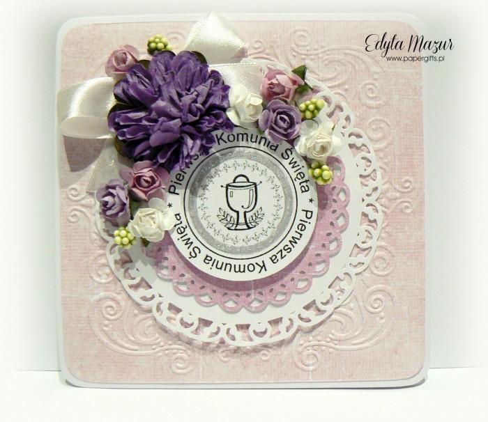 Różowo-fioletowa - Pamiątka Komunii Św