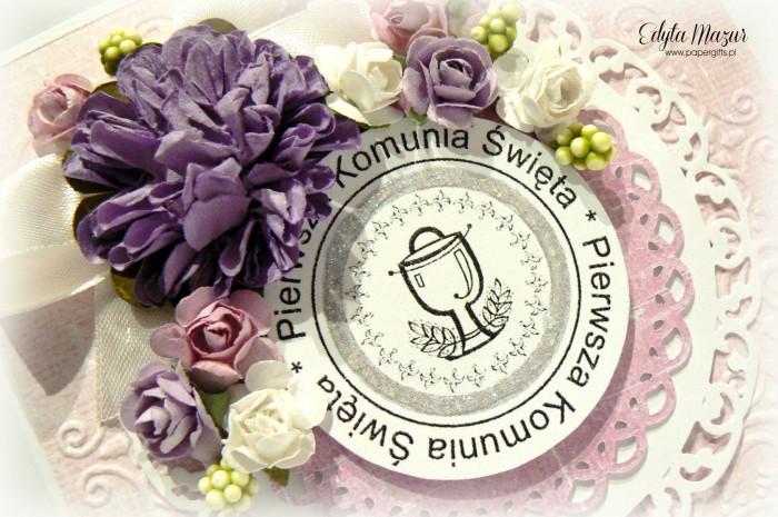 Różowo-fioletowa - Pamiątka Komunii Św1