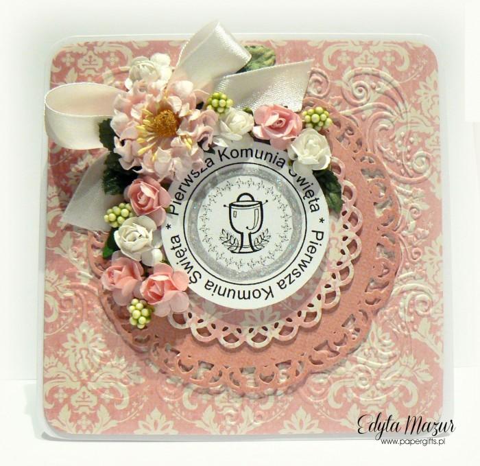 Różowo-kremowa - Pamiątka Komunii Św