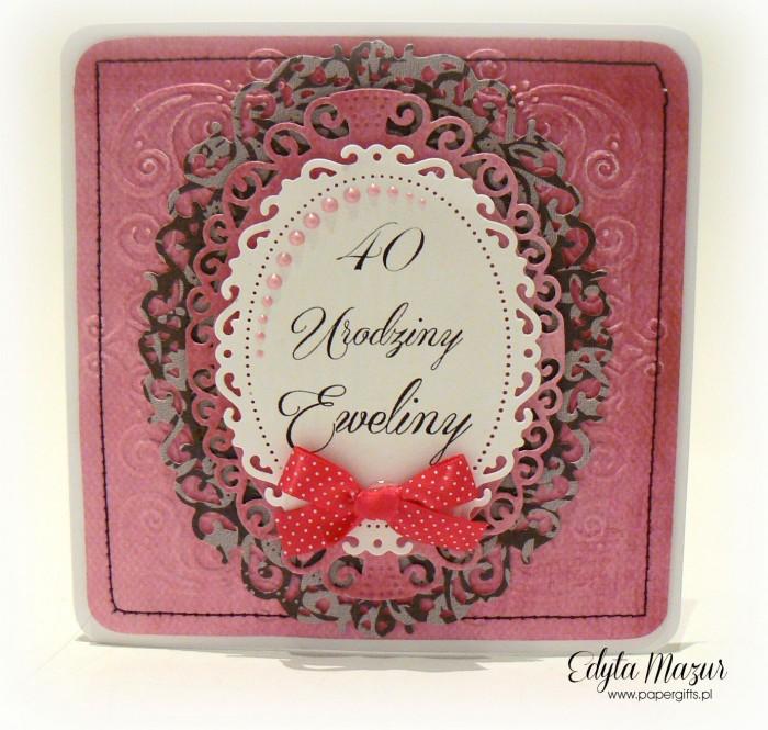 Różowo-szara kartka na urodziny Eweliny