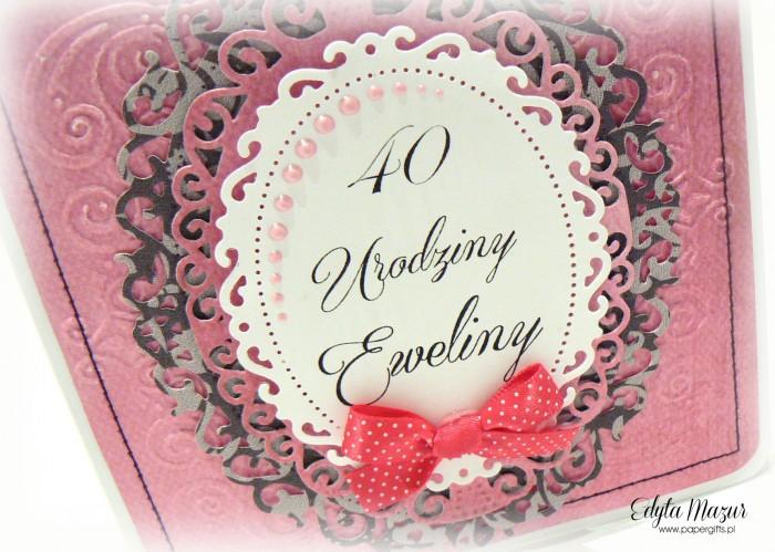 Różowo-szara kartka na urodziny Eweliny1