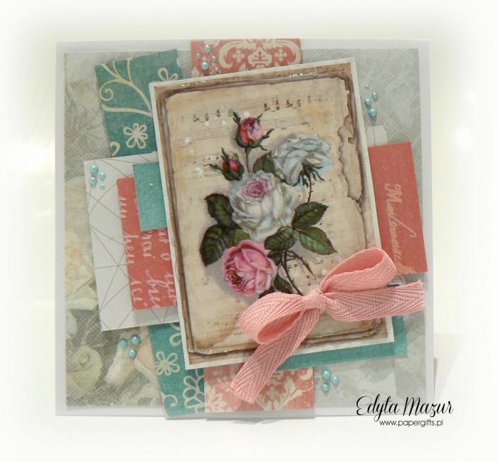 Różowo-szara z różą - kartka na Dzień Mamy