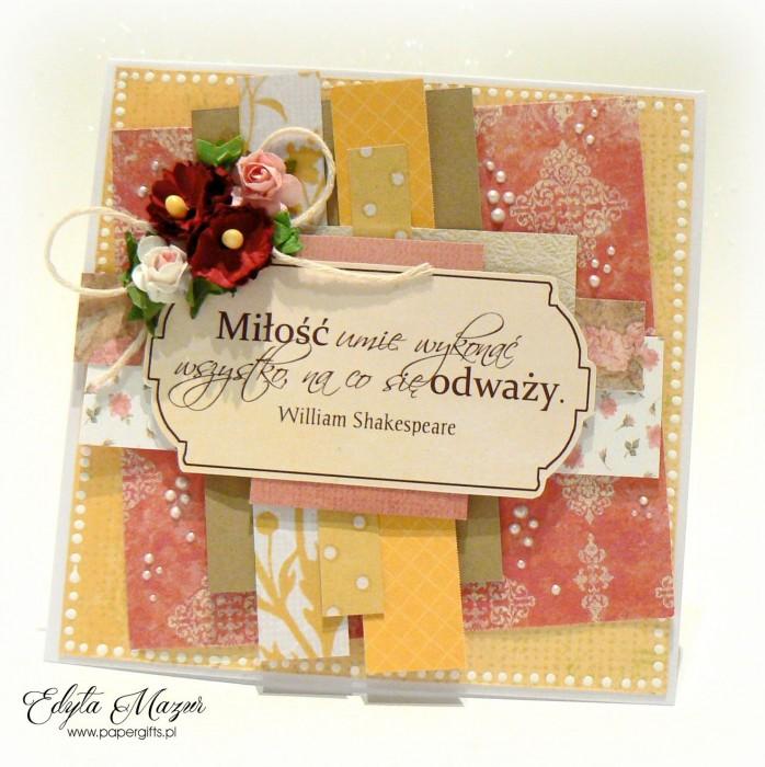 Różowo-złota z dedykacją - kartka ślubna