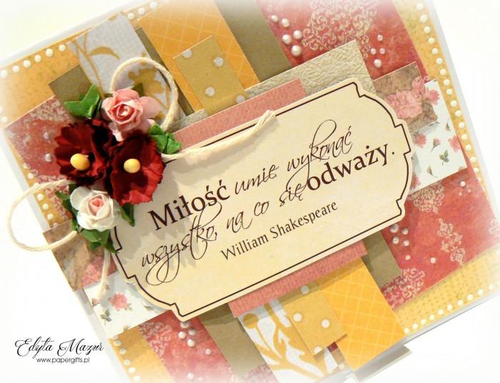 Różowo-złota z dedykacją - kartka ślubna1