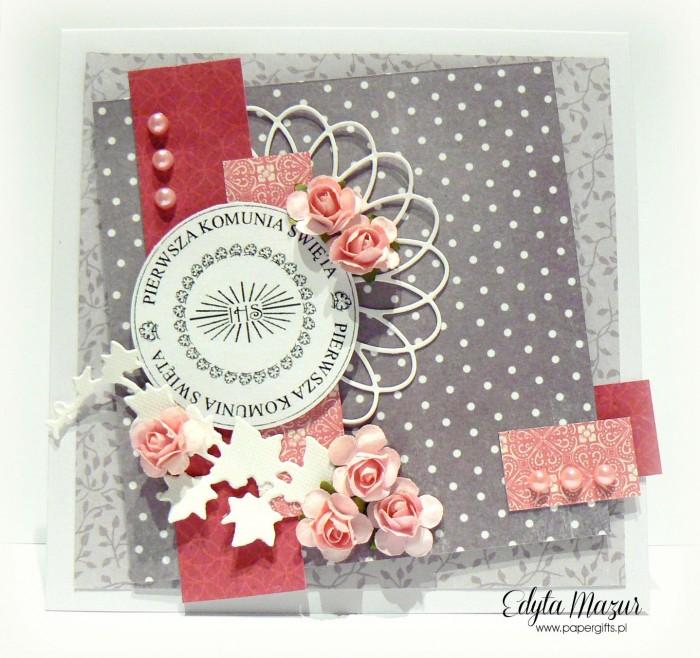 Szaro-różowa z różyczkami - Pamiątka Komunii Św