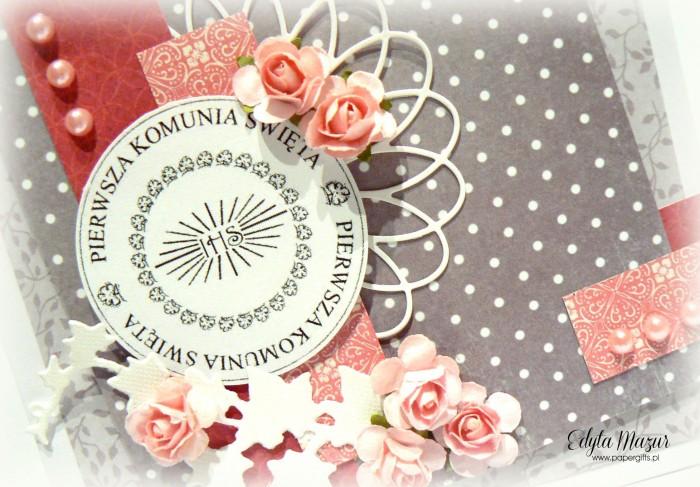 Szaro-różowa z różyczkami - Pamiątka Komunii Św1