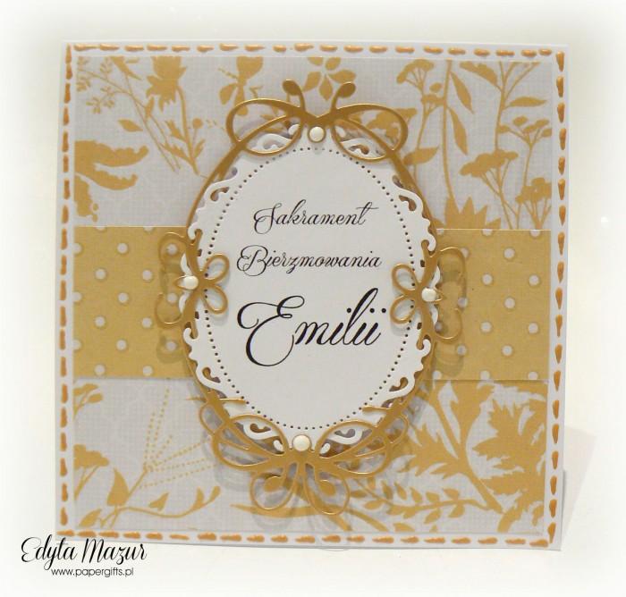 Złoto-żółta kartka na bierzmowanie Emilii