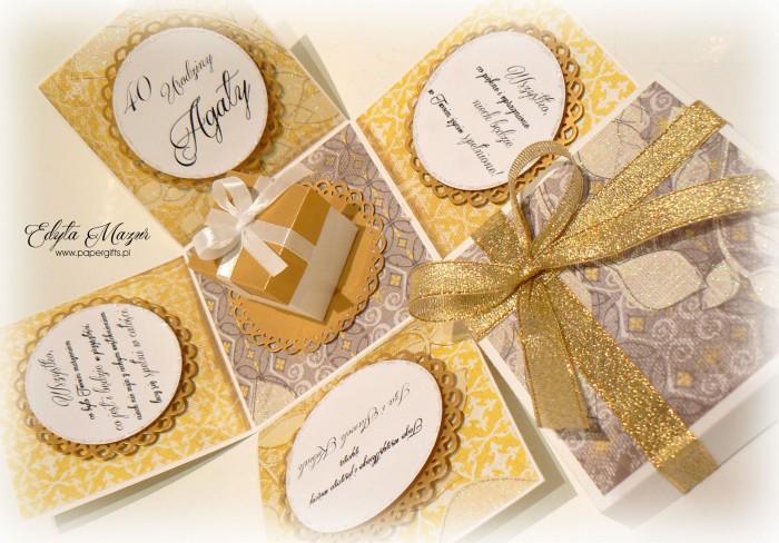 Złoto-żółty box z paczuszką na urodziny Agaty1