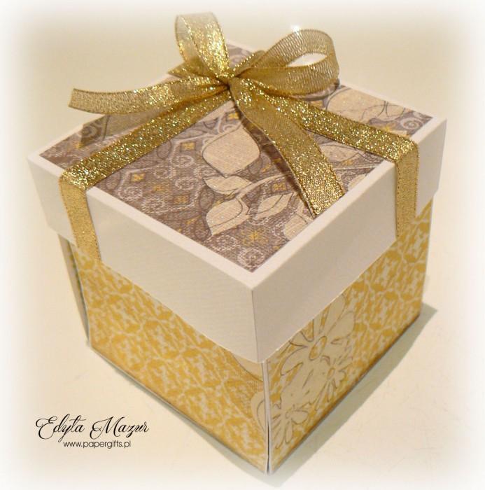 Złoto-żółty box z paczuszką na urodziny Agaty2