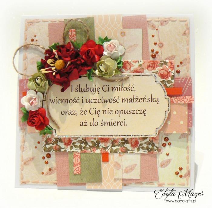 Beżowo-czerwona - kartka ślubna