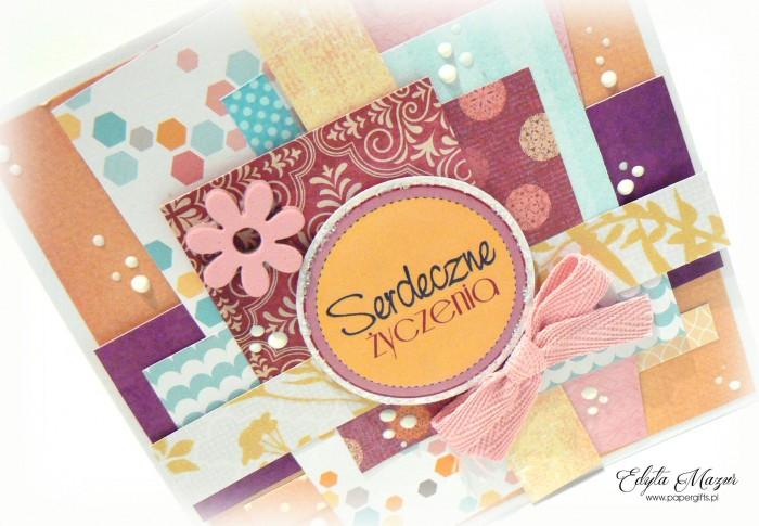 Kolorowa z kwiatkiem - kartka okolicznościowa1