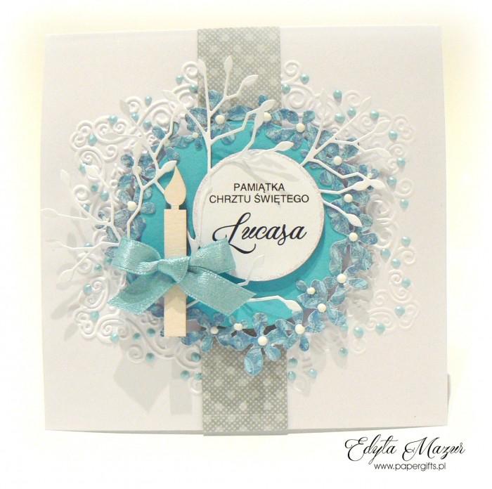 Niebieski wianek - Pamiątka Chrztu Lucasa