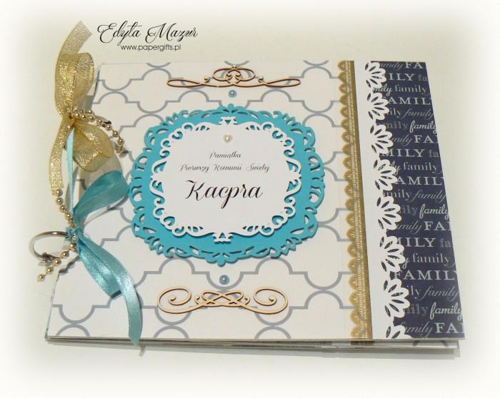 Niebiesko-biały album komunijny dla Kacpra2