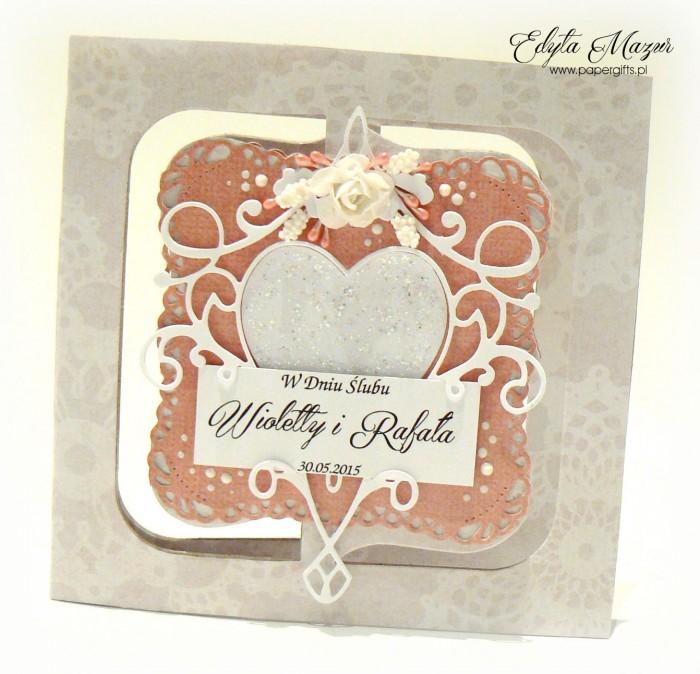 Różowa z sercem - kartka ślubna dla Wioletty i Rafała