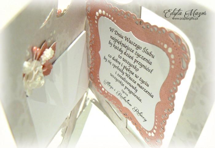 Różowa z sercem - kartka ślubna dla Wioletty i Rafała1