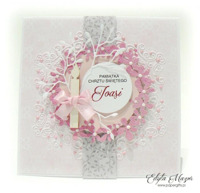Różowy wianek - Pamiatka Chrztu Świętego
