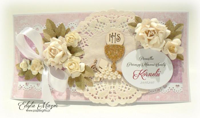 Złoty kielich z różami - Pamiątka Komunii Świętej Kornelii2