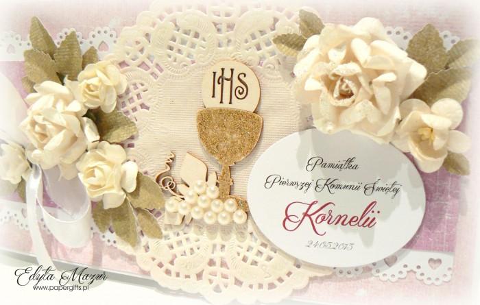 Złoty kielich z różami - Pamiątka Komunii Świętej Kornelii3