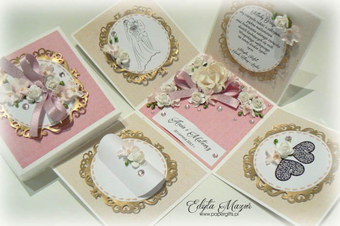 Beżowo-różowo- złoty box ślubny dla Ani i Mateusza