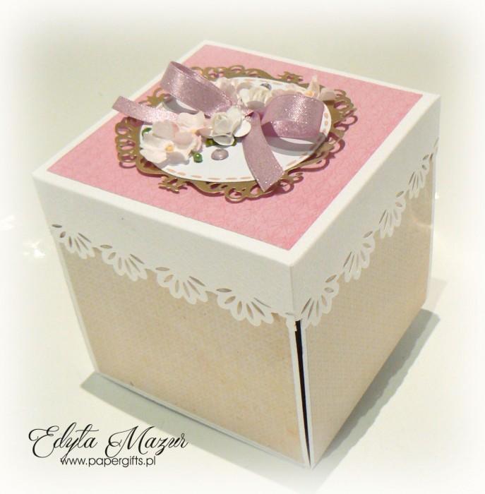 Beżowo-różowo- złoty box ślubny dla Ani i Mateusza1