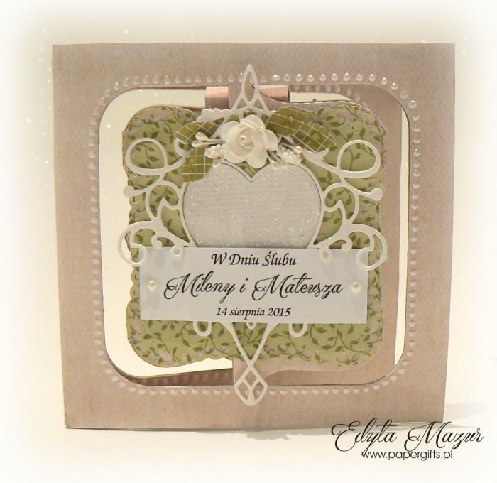 Białe serce na zielonym tle - Kartka na ślub Mileny i Mateusza