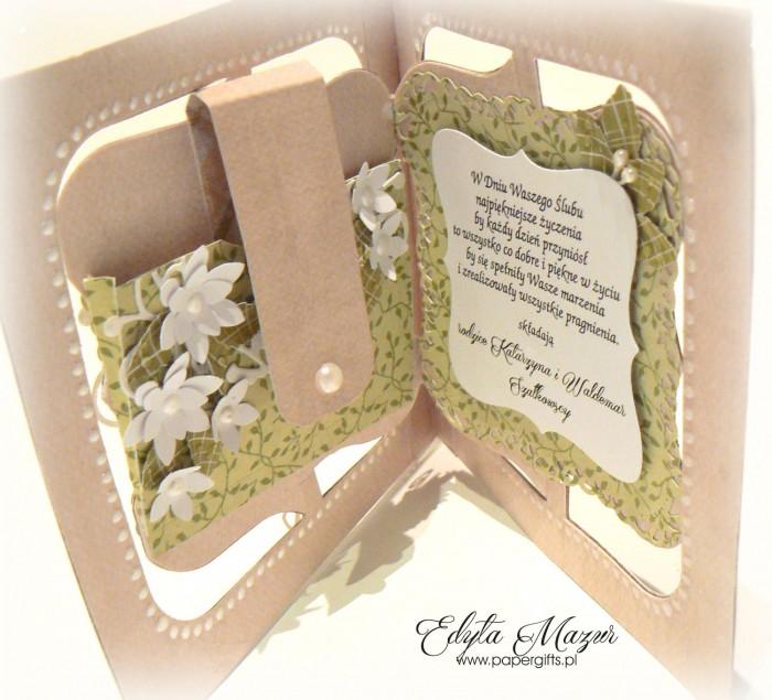 Białe serce na zielonym tle - Kartka na ślub Mileny i Mateusza1