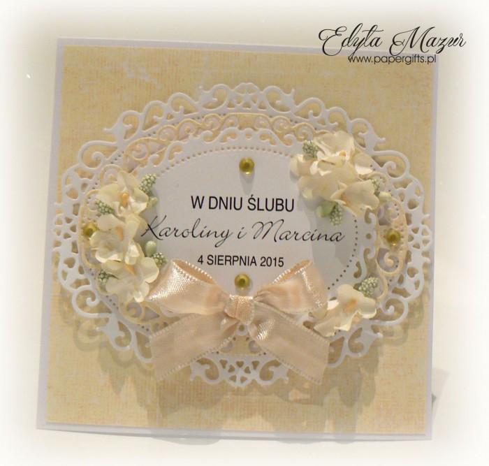 Biało-żółta kartka na ślub Karoliny i Marcina