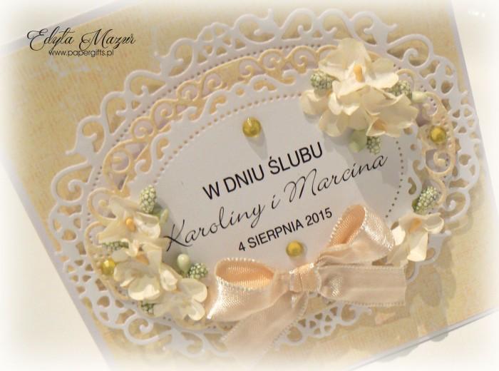 Biało-żółta kartka na ślub Karoliny i Marcina1
